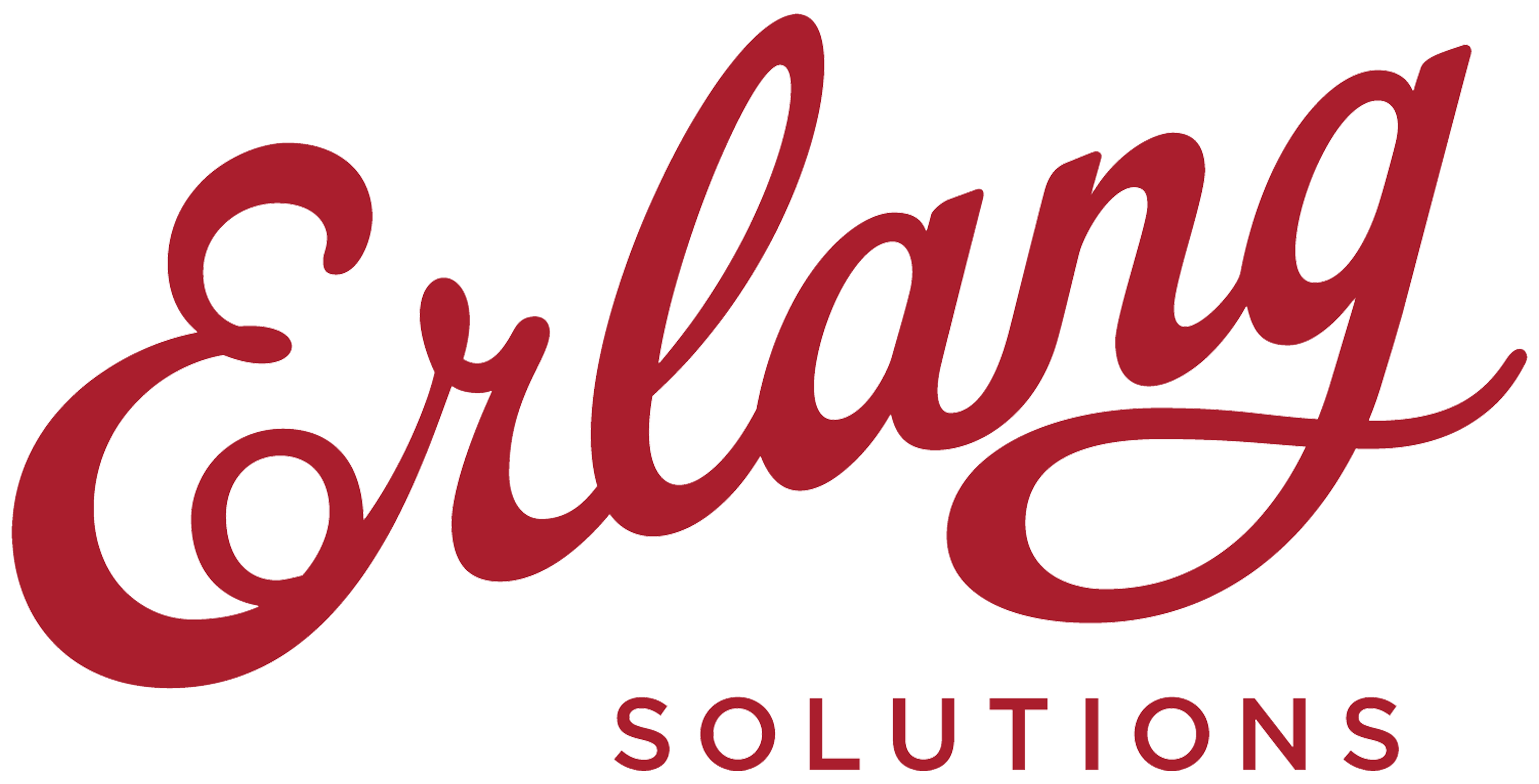 ESL Logo - burgundy colored, freestyled lettering of Erlang SOLUTIONS