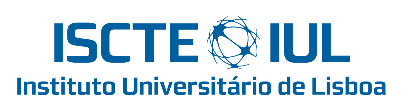 ISCTE Logo - gyrating blue globe placed between ISCTE and IUL