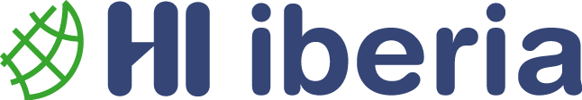 HI Iberia Logo - a partial globe shape made of interconnecting green, rounded lines and HI iberia written in blue, rounded letters