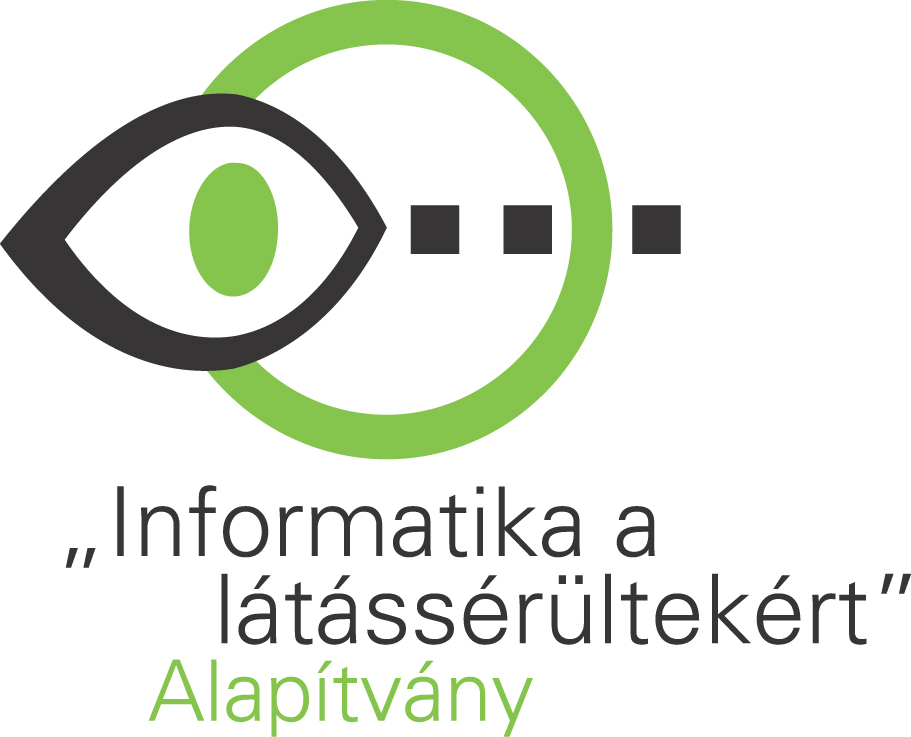 Infoalap Logo - black eye imposed upon a green circle and three dots (into the future?)